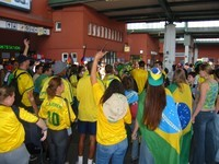 brasilians in happy anticipation of the football world cup finals